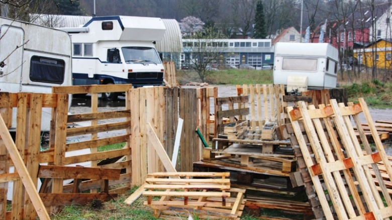Bauwagen an der Europawiese