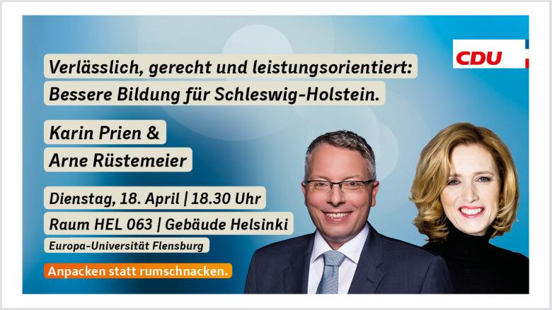 Veranstaltungseinladung mit Karin Prien und Arne Rüstemeier