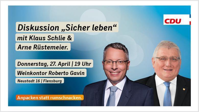 Veranstaltungseinladung mit Klaus Schlie und Arne Rüstemeier