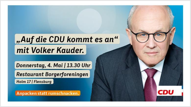 Veranstaltungseinladung mit Volker Kauder und Arne Rüstemeier