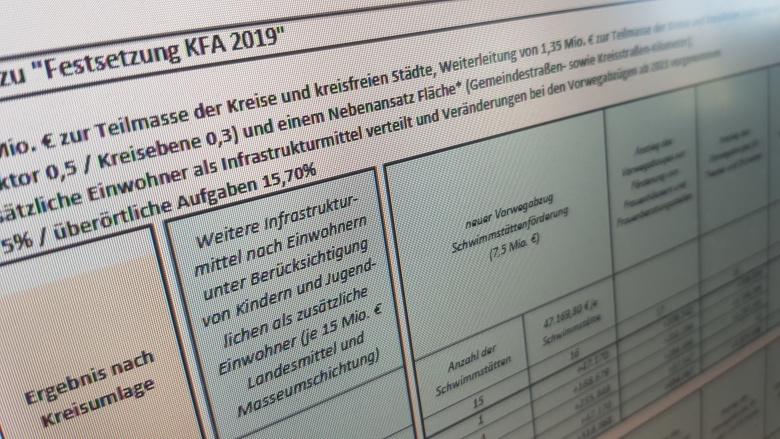 Tabellenmaterial zum Finanzausgleichsgesetz