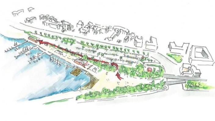 So könnte der Radweg an der Hafenspitze aussehen